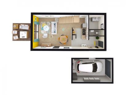 Modèle de maison AM-87-R+1-R-GA 3 chambres  : Photo 3