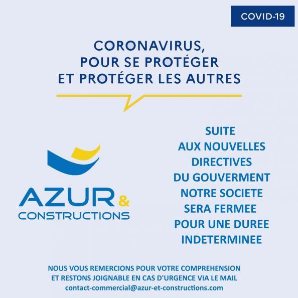 CORONAVIRUS AZUR ET CONSTRUCTION FERMETURE