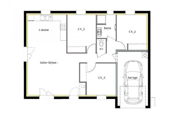 Modèle de maison PT_PP_3_75_GEF 3 chambres  : Photo 2
