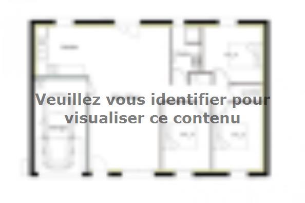 Plan de maison PT_PP_3_85_GEF 3 chambres  : Photo 1