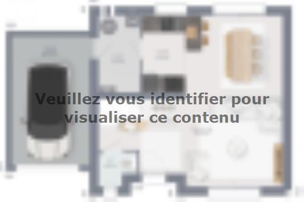 Plan de maison Actua 80 R+1 GA 3 chambres  : Photo 1