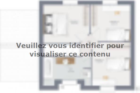 Plan de maison Actua 80 R+1 GA 3 chambres  : Photo 2