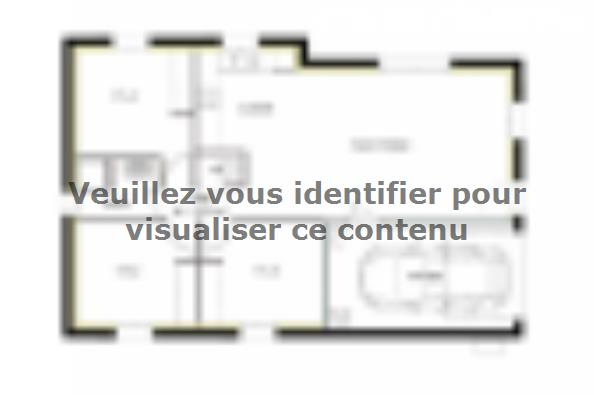 Plan de maison PT_PP_3_75_GIP_Sud 3 chambres  : Photo 1