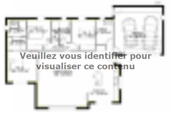Plan de maison PP129_P1850V8 3 chambres  : Photo 1