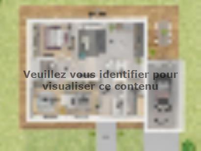 Plan de maison Plain-pied GA 3 ch Design 3 chambres  : Photo 2