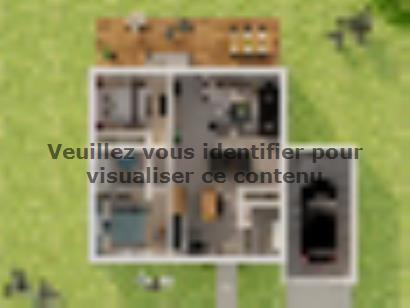 Plan de maison Plain-pied GA 2 ch Briques 2 chambres  : Photo 1