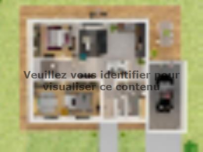 Plan de maison Plain-pied GA 3 ch Design 3 chambres  : Photo 1
