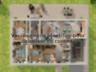 Plan de maison Plain-pied GI 4 ch Briques 4 chambres  : Photo 1
