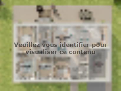 Plan de maison Plain-pied GI 4 ch _ CHAMBRE TWIN + 2 x SUITES PAR 5 chambres  : Photo 2
