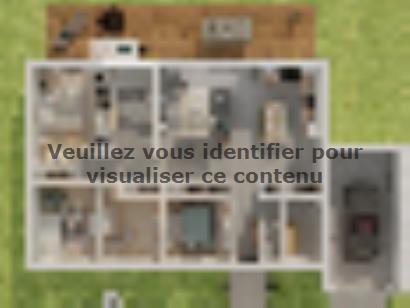 Plan de maison Plain-pied GA 4 ch _ CHAMBRE TWIN + CELLIER XL + G 5 chambres  : Photo 1