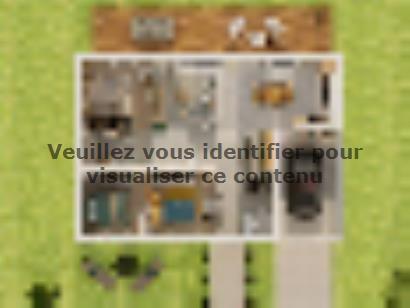 Plan de maison Plain-pied GI 3 ch _ CHAMBRE TWIN + 2 x SUITES PAR 4 chambres  : Photo 1
