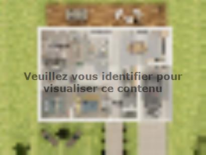 Plan de maison Plain-pied GI 3 ch _ CHAMBRE TWIN + 2 x SUITES PAR 4 chambres  : Photo 2