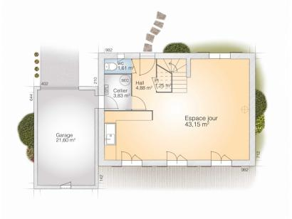 Plan de maison Saphir 110 Tradition 3 chambres  : Photo 1