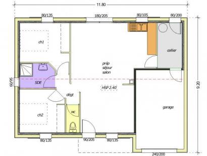 Plan de maison Avant-Projet NOTRE DAME DE MONTS - 67 m² - 2 chamb 2 chambres  : Photo 1