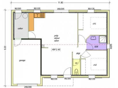 Plan de maison Avant-Projet NOTRE DAME DE MONTS - 67 m² - 2 chamb 2 chambres  : Photo 2