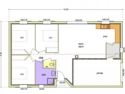 Plan de maison Avant-Projet FONTENAY LE COMTE - 80 m² - 3chambres 3 chambres  : Photo 1