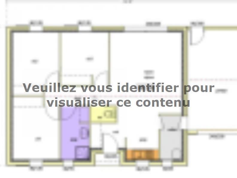 Plan de maison Avant projet BOURNEZEAU 72m² - 3 chambres : Vignette 1