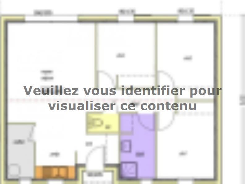 Plan de maison Avant projet BOURNEZEAU 72m² - 3 chambres : Vignette 2