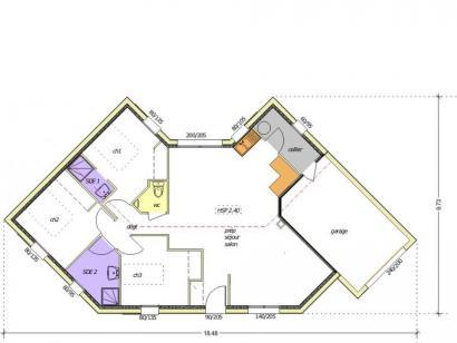 Plan de maison Avant-projet MALLEZAIS - 90 m² - 3 chambres 3 chambres  : Photo 2