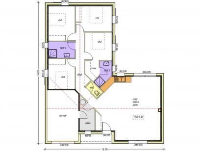 Plan de maison Avant-projet BRESSUIRE - 104 m² - 4 chambres 4 chambres  : Photo 1