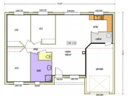 Plan de maison Avant-projet MACHE - 84 m² - 3 chambres 3 chambres  : Photo 1