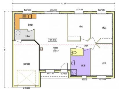 Plan de maison Avant-projet MACHE - 84 m² - 3 chambres 3 chambres  : Photo 2