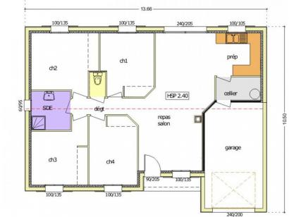 Plan de maison Avant-Projet CERIZAY - 90 m² - 4 chambres 4 chambres  : Photo 1
