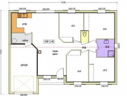 Plan de maison Avant-Projet CERIZAY - 90 m² - 4 chambres 4 chambres  : Photo 2