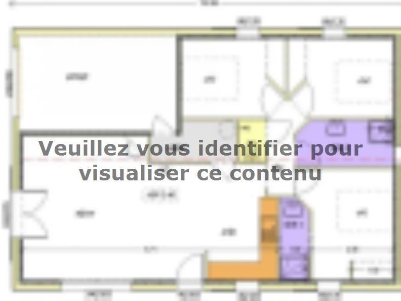 Plan de maison Avant-projet BOULOGNE - 84 m² - 3 chambres : Vignette 1