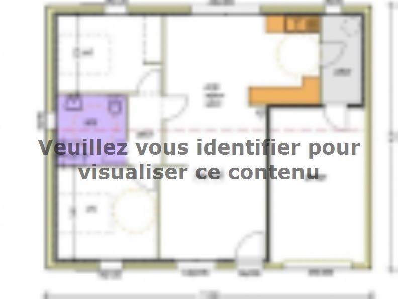 Plan de maison Avant-projet L'HERMENAULT - 70 m² - 2 chambres : Vignette 1