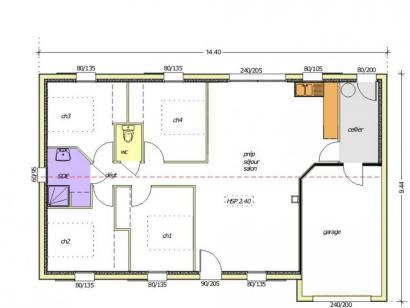 Plan de maison Avant-projet MONTAIGU - 90 m² - 4 chambres 4 chambres  : Photo 1