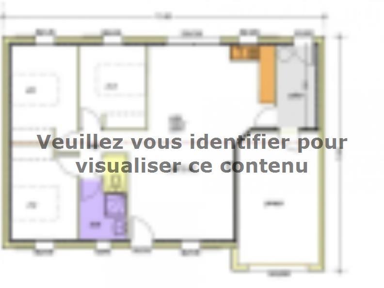 Plan de maison Avant-projet BENET - 79 m² - 3 chambres : Vignette 1