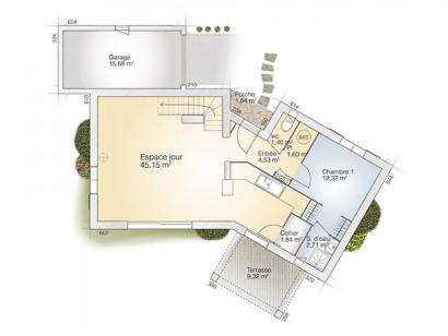 Plan de maison Diamant 100 Elégance 3 chambres  : Photo 1