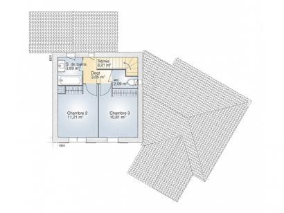 Plan de maison Diamant 100 Elégance 3 chambres  : Photo 2