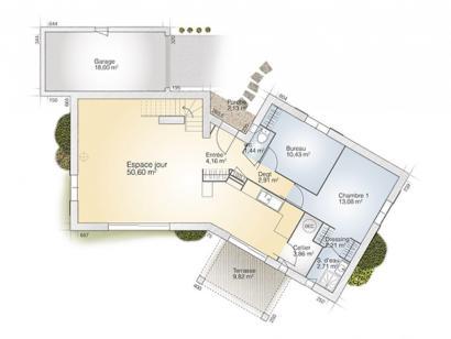 Plan de maison Diamant 125 Tradition 4 chambres  : Photo 1