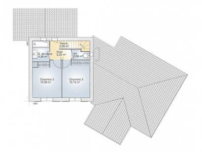 Plan de maison Diamant 125 Tradition 4 chambres  : Photo 2