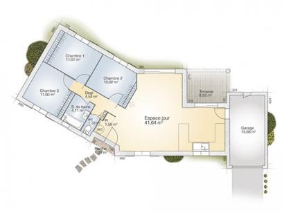 Plan de maison Emeraude 85 Tradition 3 chambres  : Photo 1