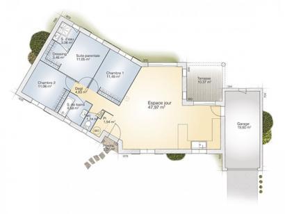 Plan de maison Emeraude 100 Elégance 3 chambres  : Photo 1
