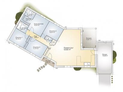 Plan de maison Emeraude 115 Elegance 4 chambres  : Photo 1