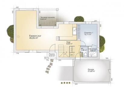 Plan de maison Aigue-Marine 105 Tradition 3 chambres  : Photo 1