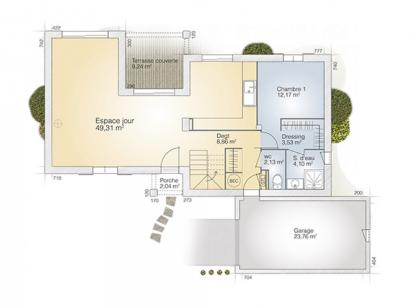 Plan de maison Aigue-Marine 125 Tradition 4 chambres  : Photo 1