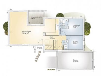 Plan de maison Aigue-Marine 145 Tradition 5 chambres  : Photo 1