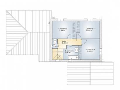 Plan de maison Aigue-Marine 145 Tradition 5 chambres  : Photo 2
