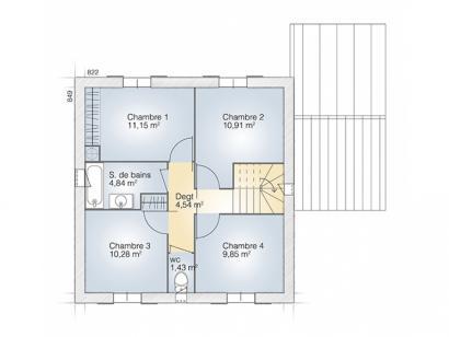 Plan de maison Jade GA 110 Elégance 4 chambres  : Photo 2
