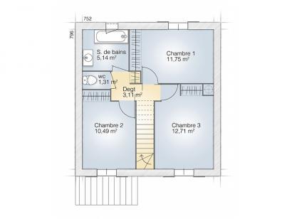 Plan de maison Jade G 83 Elégance 3 chambres  : Photo 2
