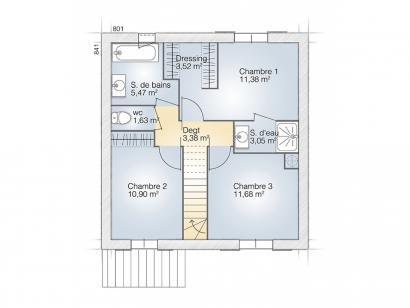 Plan de maison Jade G 95 Tradition 3 chambres  : Photo 2