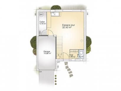 Plan de maison Jade G 95 Tradition 3 chambres  : Photo 1