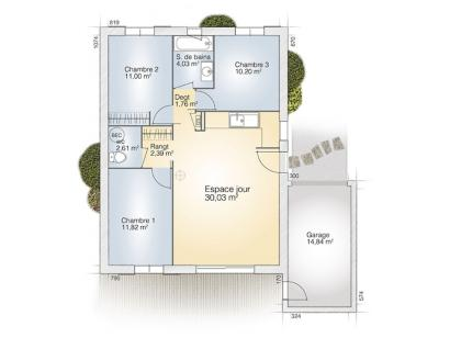 Plan de maison Opale GA 73 P Tradition 3 chambres  : Photo 1
