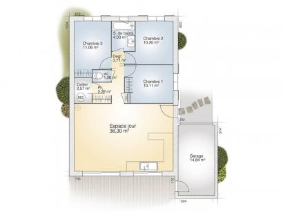 Plan de maison Opale GA 83 P Tradition 3 chambres  : Photo 1