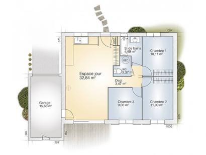 Plan de maison Opale GA 73 F Elégance 3 chambres  : Photo 1